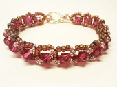 Classic Crystal Bracelet Beadwork Jewellery Making Kit with SWAROVSKI® ELEMENTS crystal beads Bronze and Fuchsia